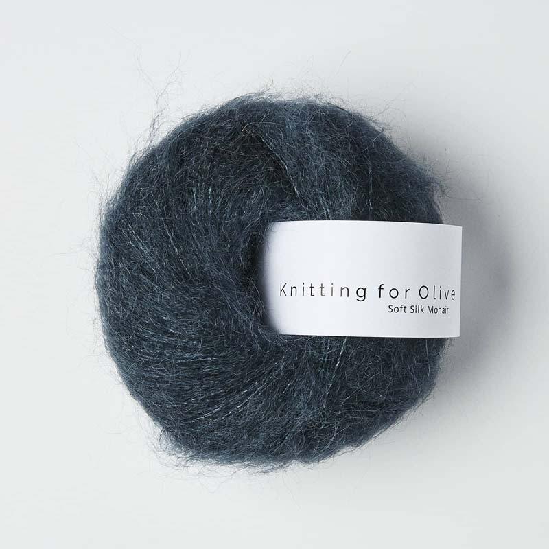 Knitting for Olive Soft Silk Mohair Deep Petroleum Blue